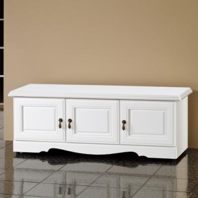 Bernice-烤白4尺座式鞋櫃/穿鞋椅-120x40.5x45cm