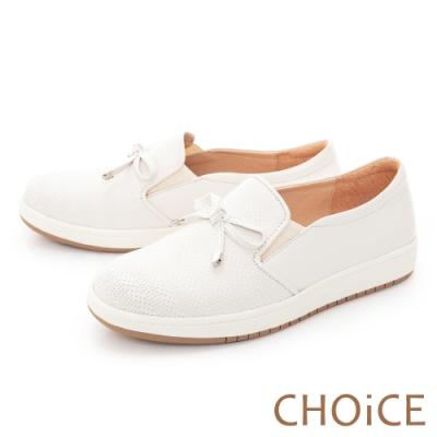 CHOiCE 蝴蝶結牛皮厚底 女 休閒鞋 白色