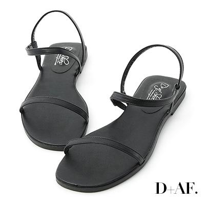 D+AF 個性獨創.一字細帶繞踝平底涼鞋*黑