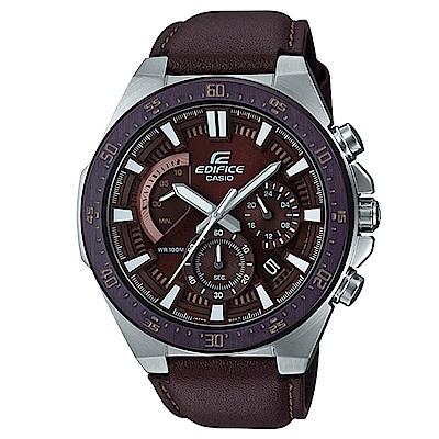 EDIFICE立體時刻扇形錶眼復古設計皮帶款賽車錶(EFR-563BL-5A)/49.mm