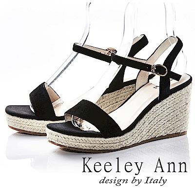 Keeley Ann 完美顯瘦~素面質感編織真皮楔形涼鞋(黑色-Ann)