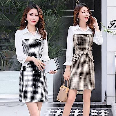 拼接襯衫收腰格紋連身短裙M-2XL(共二色)-SZ