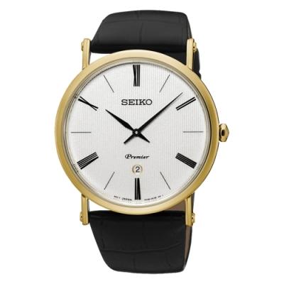 SEIKO 精工Premier 正裝系列石英皮腕錶-金框41mm(SKP396J1)