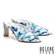 拖鞋 HELENE SPARK 繽紛夏日晶鑽花布美型高跟拖鞋-藍 product thumbnail 1