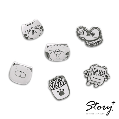 STORY故事銀飾-白爛貓經典系列-1787純銀耳環組