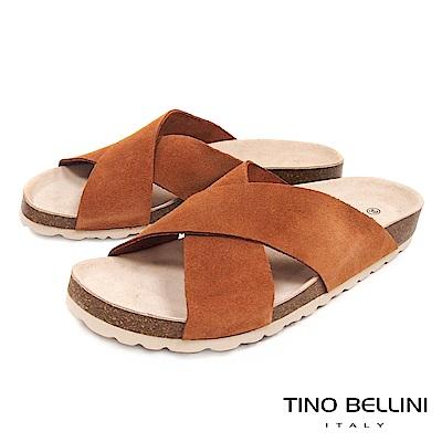 Tino Bellini 西班牙進口簡約真皮交叉平底涼拖鞋 _ 棕