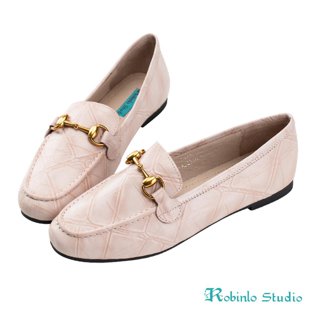 Robinlo 文藝大理石紋金屬飾扣樂福鞋 米白