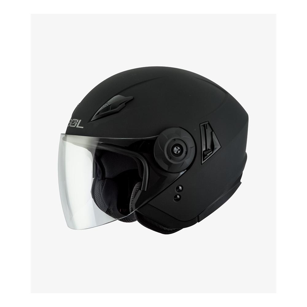 【SOL】SO-5 素色 素消光黑 3/4罩(安全帽│半罩│內藏墨鏡│GOGORO)
