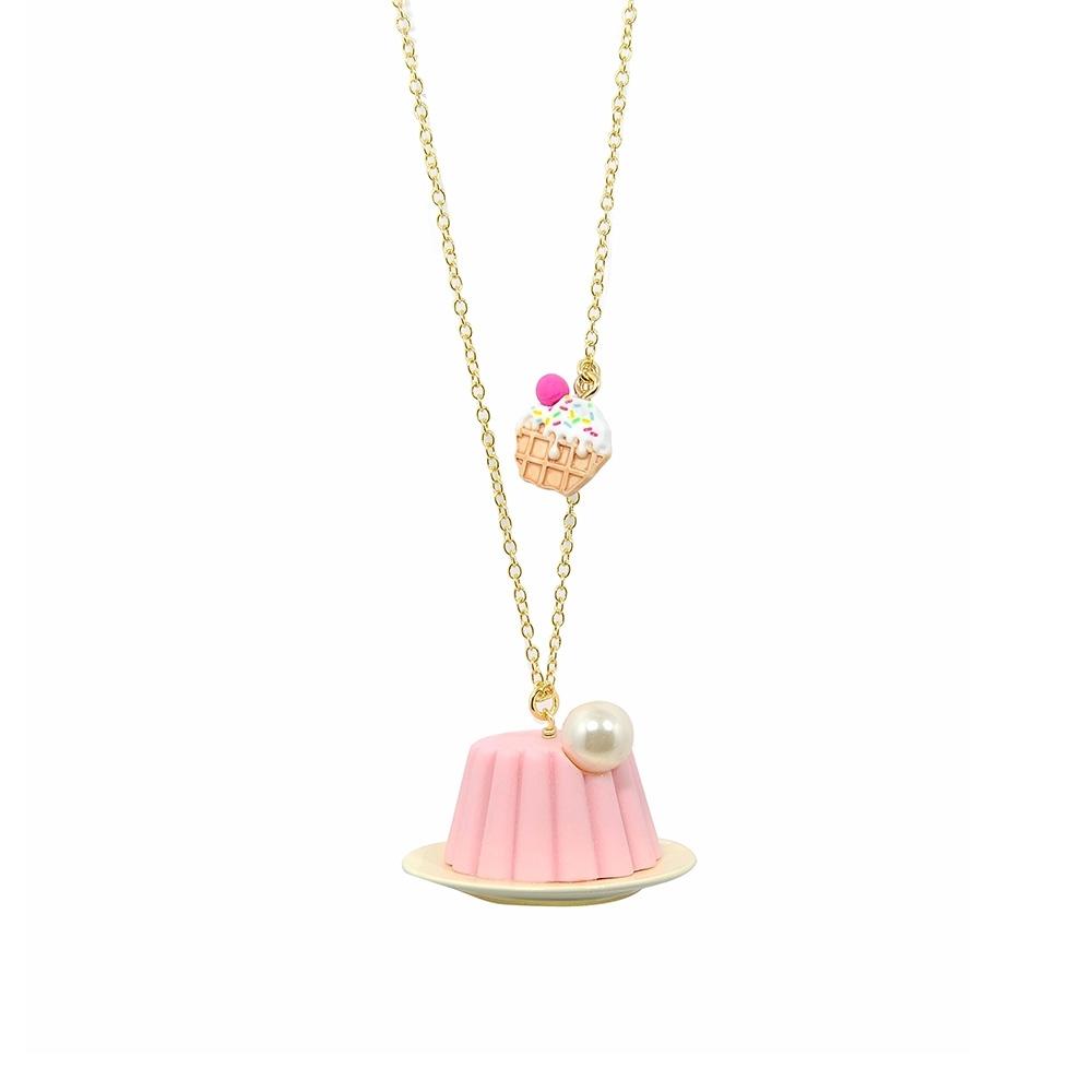 【福利品】Les Nereides N2甜點系列 玫瑰夏洛特蛋糕 金色項鍊
