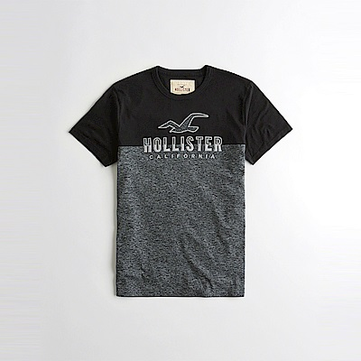 HCO Hollister 海鷗 經典電繡文字大海鷗圖案短袖T恤-黑灰拼色