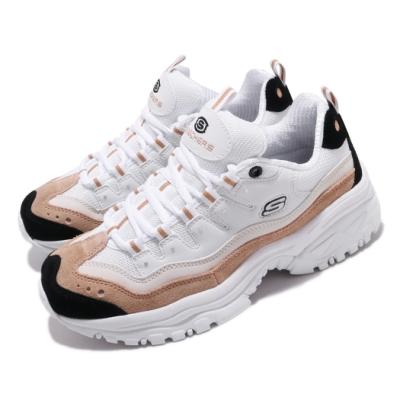 Skechers 休閒鞋 Energy Sunny Waves 女鞋 老爹鞋 厚底 增高 麂皮 穿搭推薦 白 棕 13413WNT
