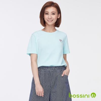 bossini女裝-圓領短袖繡花上衣粉綠
