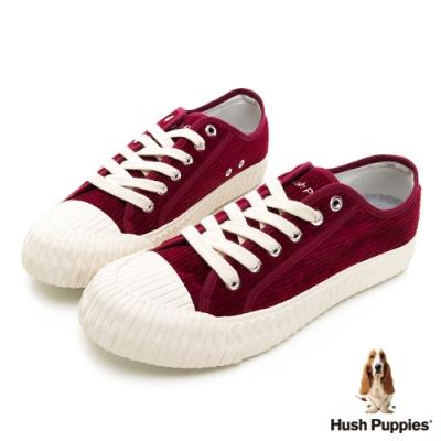 Hush Puppies 燈心絨休閒餅乾鞋-酒紅