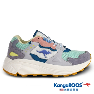 KangaROOS 女 ESCAPE 潮流山系老爹鞋(粉綠-KW01205)