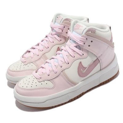 Nike 休閒鞋 Dunk High Up 運動 女鞋 高筒 厚底 增高 舒適 皮革 穿搭 卡其 粉 DH3718-102