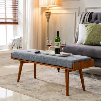 E-home Aysel艾賽爾實木拉扣兩用造型長板凳 藍色