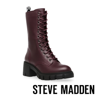 STEVE MADDEN-HIGHLAND 綁帶厚底高筒軍靴-酒紅色