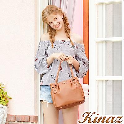 KINAZ 優雅漫舞兩用斜背包-大地棕-蝴蝶系列