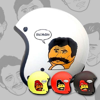 【T-MAO】知名插畫家 救客人 (鵝黃色) 波卡哆款 安全帽|不撞帽|機車|鏡片|內襯|鏡片|正版授權|經典彩繪|3/4罩 半罩|復古帽