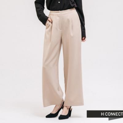 H:CONNECT 韓國品牌 女裝 -質感素面西裝寬褲-卡其