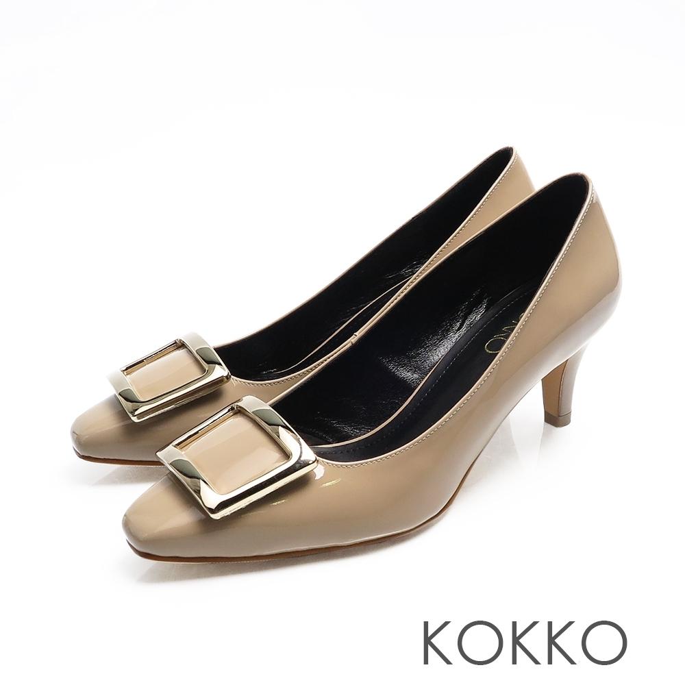 KOKKO - 重溫初心大方扣真皮方頭高跟鞋-奶茶裸