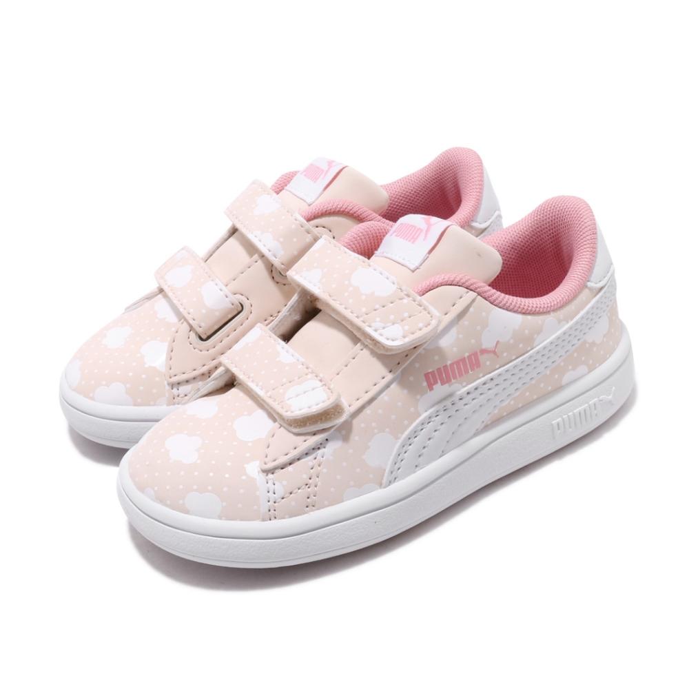 Puma 休閒鞋 Smash v2 運動 童鞋 基本款 魔鬼氈 簡約 小童 雲朵 粉 白 37119401