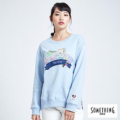 買一送一 BONBON法鬥哥 漫步亞維儂 厚長袖T恤-女-淡藍