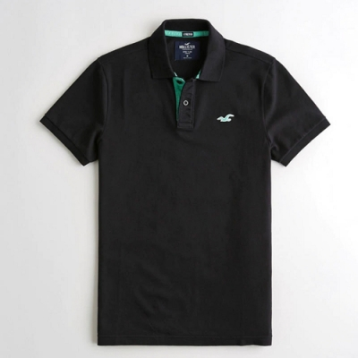 Hollister HCO 小海鷗 綠刺繡 黑色素面  短袖POLO衫(男/黑色XS)