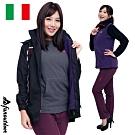 【戶外趣】情侶女款義大利橫條鈕扣立領全防風防水兩件式連帽背心外套(HJL004 黑紫)
