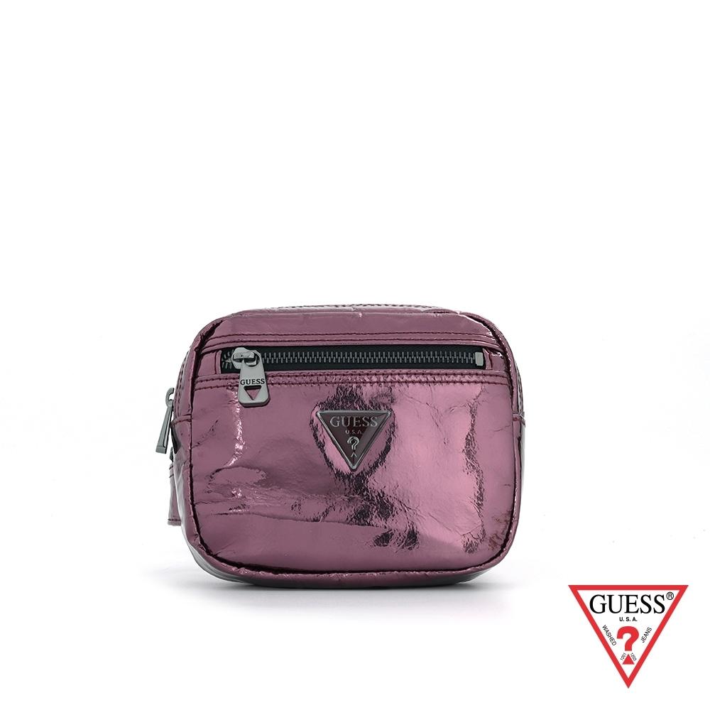 GUESS-女包-金屬風漆皮拉鍊方型腰包-紫 原價2090
