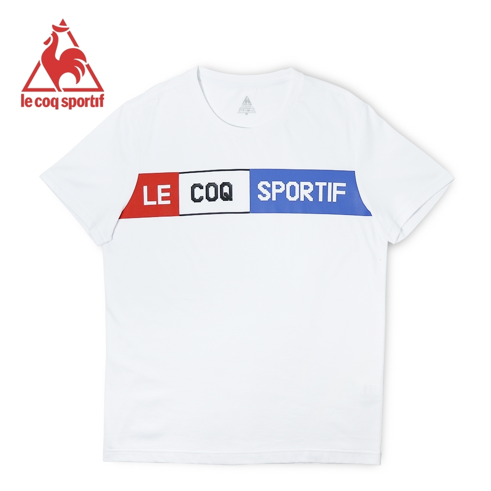 le coq sportif 法國公雞牌舒適純棉文字LOGO短袖T恤 男-白