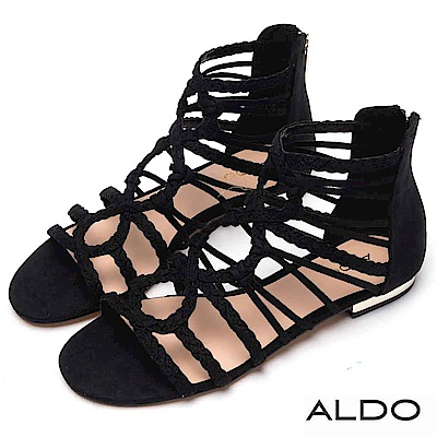 ALDO 原色麻花編織鏤空金屬跟羅馬涼鞋~尊爵黑色