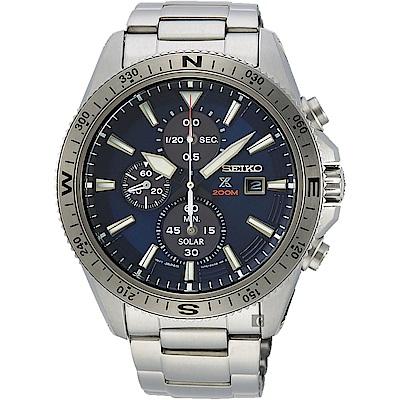 (無卡分期6期)SEIKO精工 PROSPEX 太陽能計時手錶(SSC703P1)-藍/44mm