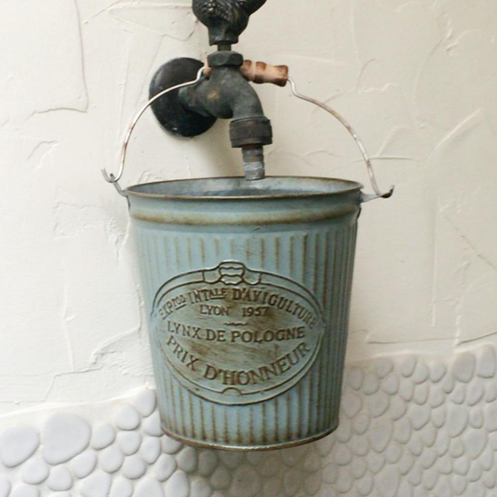 【Meric Garden】歐式仿舊復古雜貨風鐵藝裝飾花器(小鐵桶)