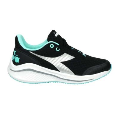 DIADORA 男女大童專業輕量慢跑鞋-超寬楦-路跑 運動 DA11035 黑銀湖水綠