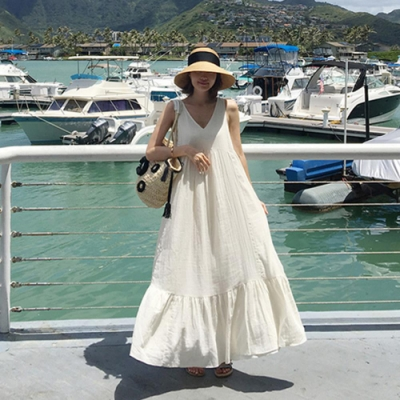 La Belleza渡假風V領後綁帶荷葉邊寬鬆大擺裙棉麻背心洋裝