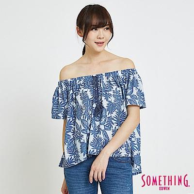 SOMETHING 休閒平口造型T恤-女-藍色