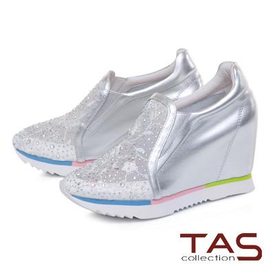 TAS 透膚蕾絲混搭水鑽撞色內增高休閒鞋-太空銀