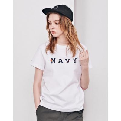 NAVY-MIT品牌玫瑰設計短T-情侶款(兩色)-女【TNA081】