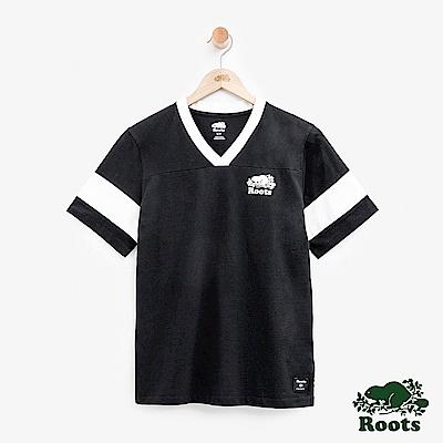 ROOTS女裝 V領色塊短袖上衣-黑