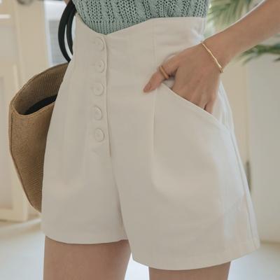 AIR SPACE LADY 高腰排釦顯瘦鬆緊短褲(白)