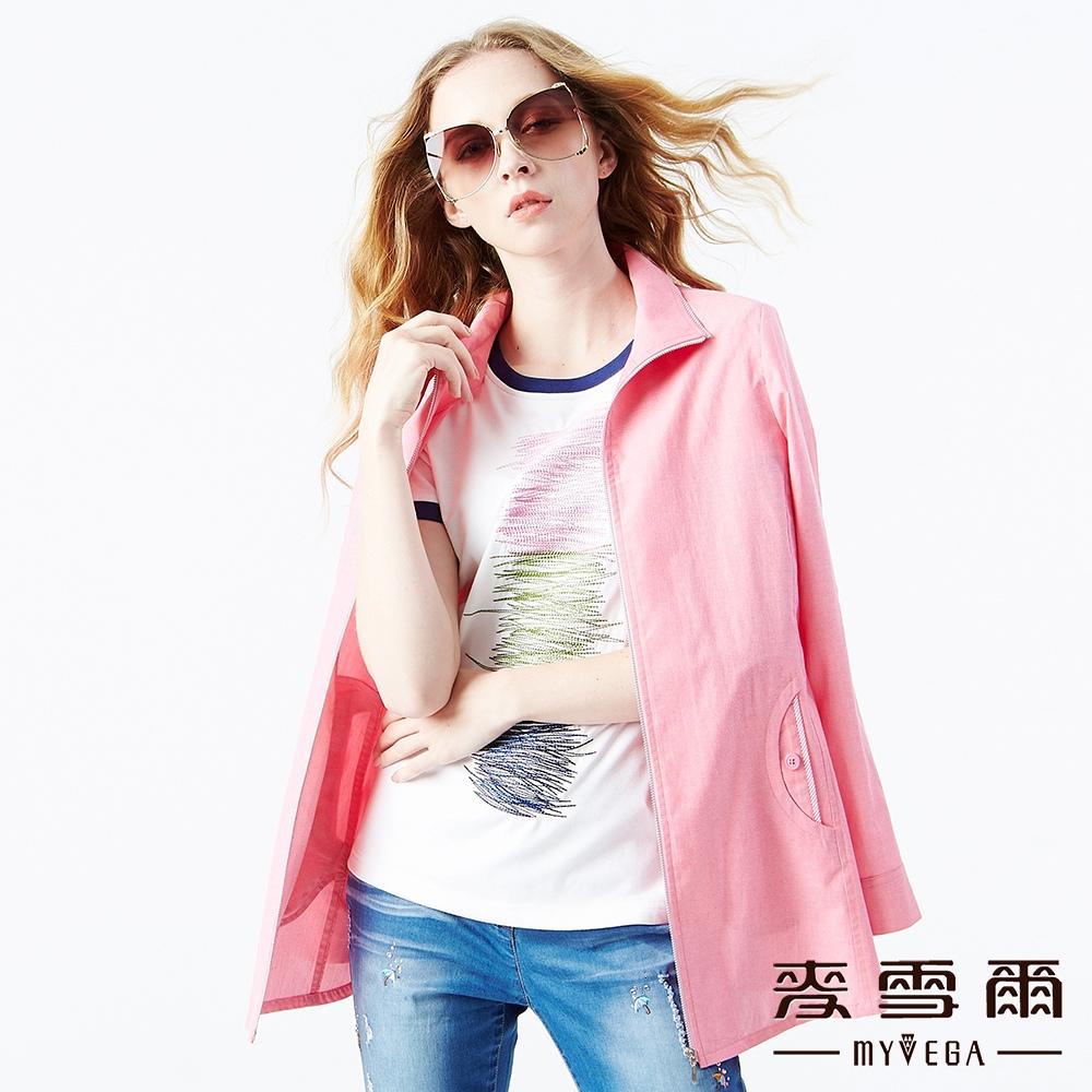 【麥雪爾】純棉斜條紋長版薄外套
