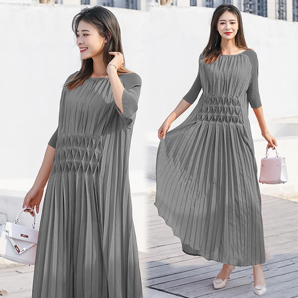 【KEITH-WILL】(預購)飄逸仙女壓褶洋裝(共4色) (灰色)