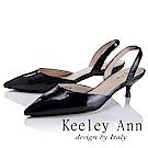 Keeley Ann 俐落個性~素色漆皮質感真皮尖頭跟鞋(黑色-Ann)