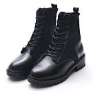 Camille's 韓國空運-正韓-牛皮拼接針織襪套綁帶工程短靴-黑色