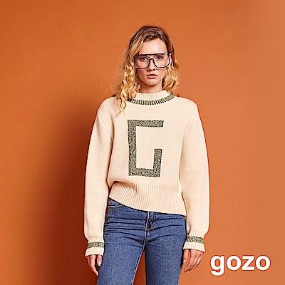gozo 小立領亮蔥字母羊毛針織上衣(二色)