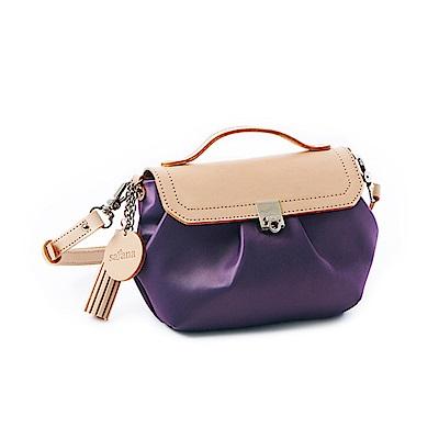 satana - 細緻摺景 優雅女伶斜肩包 - 紫水晶