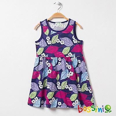 bossini女童-印花連身洋裝09深紫
