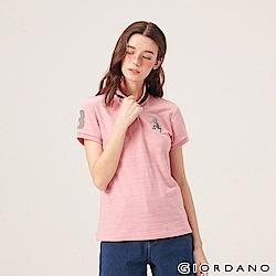 GIORDANO 女裝勝利獅王漸層刺繡彈力萊卡POLO衫-58 仿緞彩薔薇粉紅