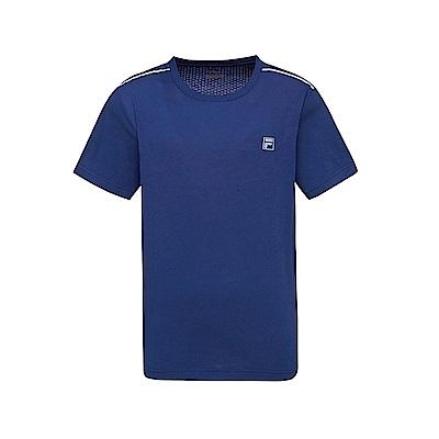 FILA 男款短袖圓領T恤-藍紫 1TET-1302-DB
